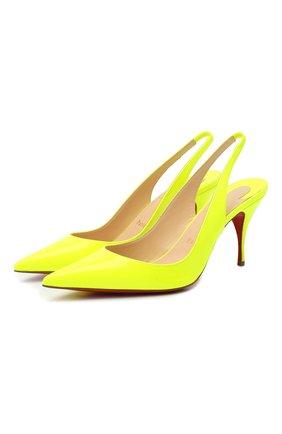 Женская кожаные туфли clare sling 80 CHRISTIAN LOUBOUTIN желтого цвета, арт. clare sling 80 patent fluo   Фото 1