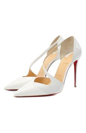 Женская кожаные туфли round and square 100 CHRISTIAN LOUBOUTIN белого цвета, арт. round and square 100 patent/kid | Фото 1