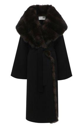 Женское пальто с отделкой из меха соболя MANZONI24 черного цвета, арт. 20M647-DB1Z/56 | Фото 1