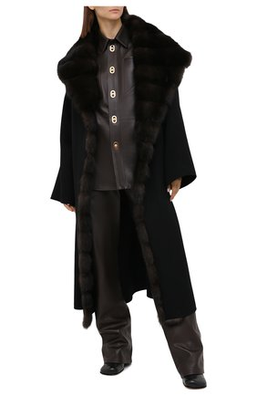 Женское пальто с отделкой из меха соболя MANZONI24 черного цвета, арт. 20M647-DB1Z/56 | Фото 2