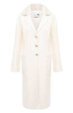 Женское пальто из шерсти и кашемира MANZONI24 белого цвета, арт. 20M745-DB3V/48-52   Фото 1