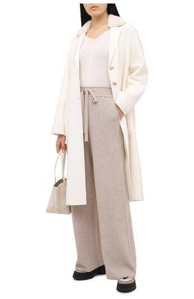 Женское пальто из шерсти и кашемира MANZONI24 белого цвета, арт. 20M745-DB3V/48-52   Фото 2