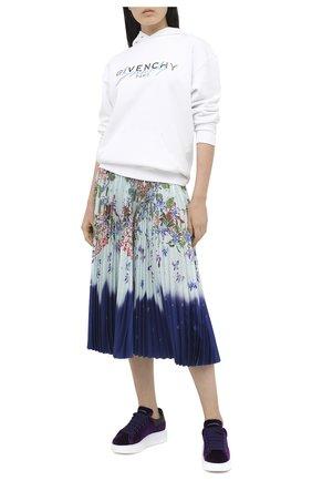 Женские текстильные кеды ALEXANDER MCQUEEN фиолетового цвета, арт. 553775/W4KMF | Фото 2
