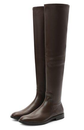 Женские кожаные ботфорты BRUNELLO CUCINELLI коричневого цвета, арт. MZNSC1901 | Фото 1
