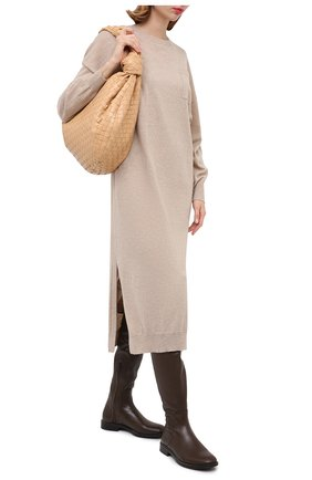 Женские кожаные ботфорты BRUNELLO CUCINELLI коричневого цвета, арт. MZNSC1901 | Фото 2