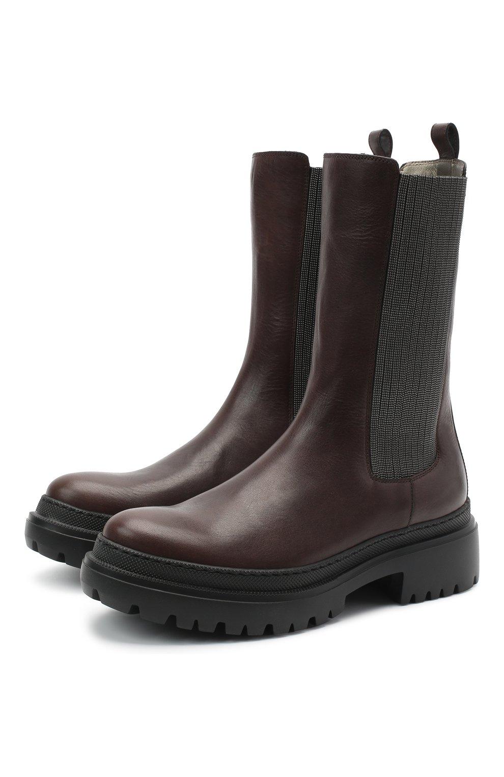 Женские кожаные ботинки BRUNELLO CUCINELLI темно-коричневого цвета, арт. MZSLG1906   Фото 1