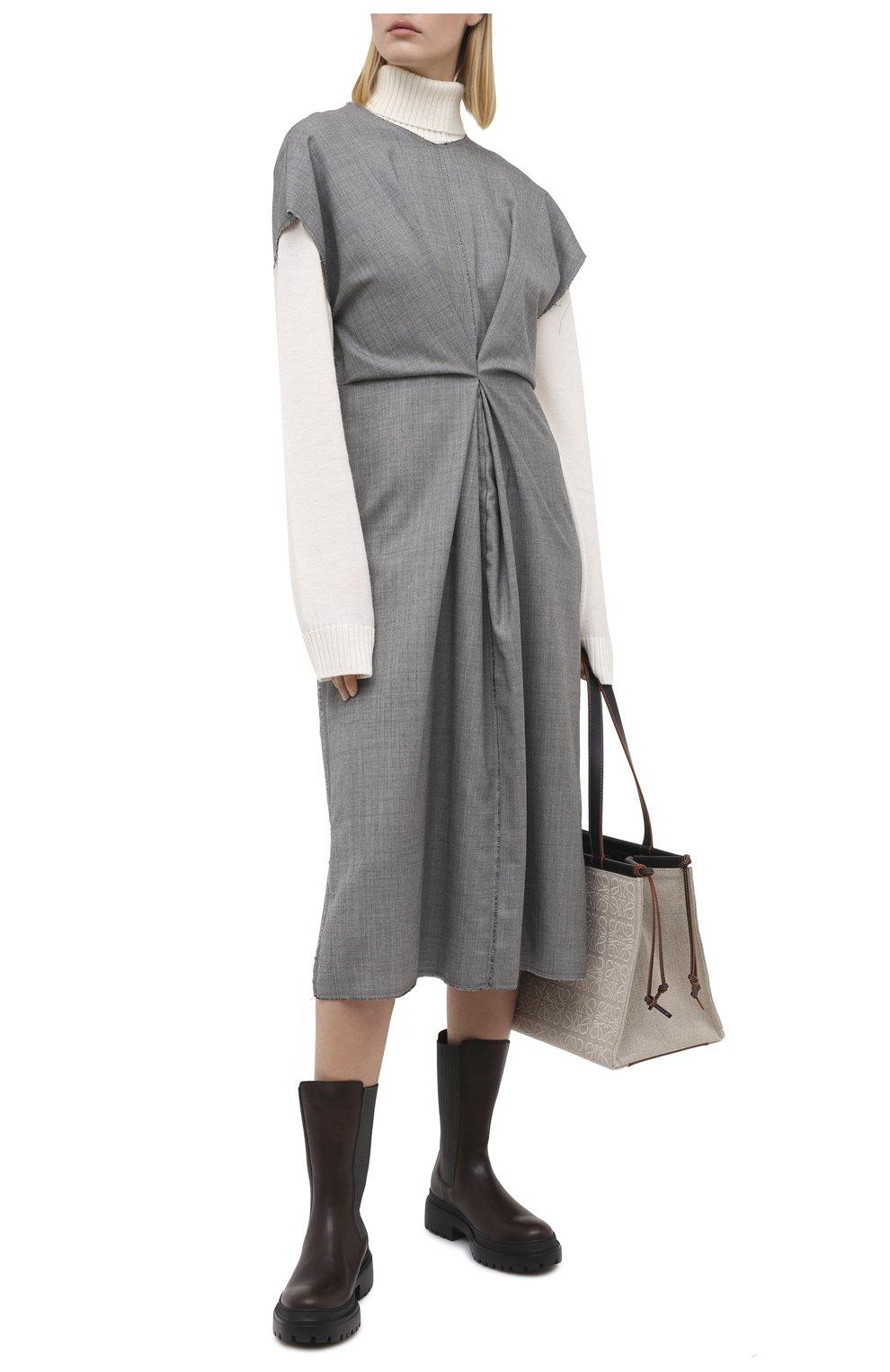 Женские кожаные ботинки BRUNELLO CUCINELLI темно-коричневого цвета, арт. MZSLG1906   Фото 2