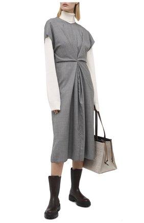 Женские кожаные ботинки BRUNELLO CUCINELLI темно-коричневого цвета, арт. MZSLG1906 | Фото 2