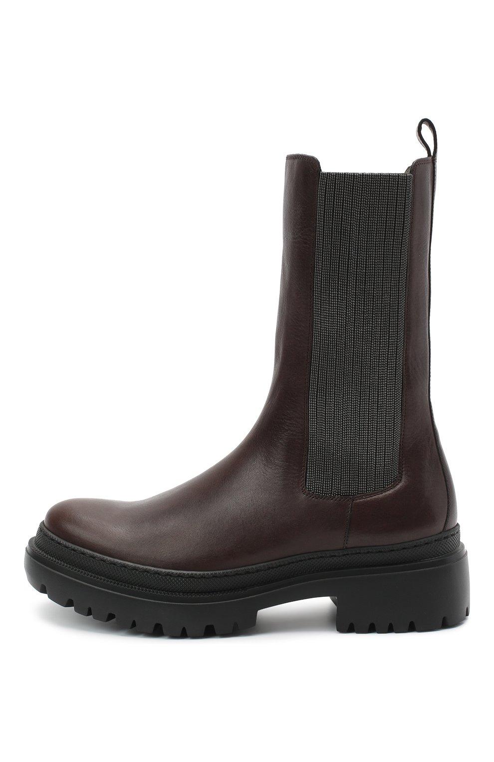 Женские кожаные ботинки BRUNELLO CUCINELLI темно-коричневого цвета, арт. MZSLG1906   Фото 3