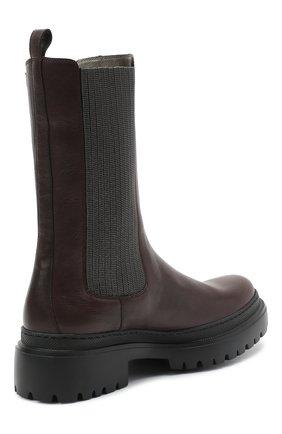 Женские кожаные ботинки BRUNELLO CUCINELLI темно-коричневого цвета, арт. MZSLG1906   Фото 4