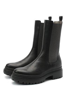Женские кожаные ботинки BRUNELLO CUCINELLI черного цвета, арт. MZSLG1906 | Фото 1