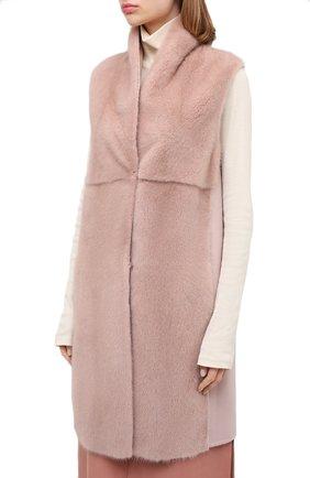 Женский жилет из меха норки MANZONI24 светло-розового цвета, арт. 20M536-VDB1/38-46   Фото 4