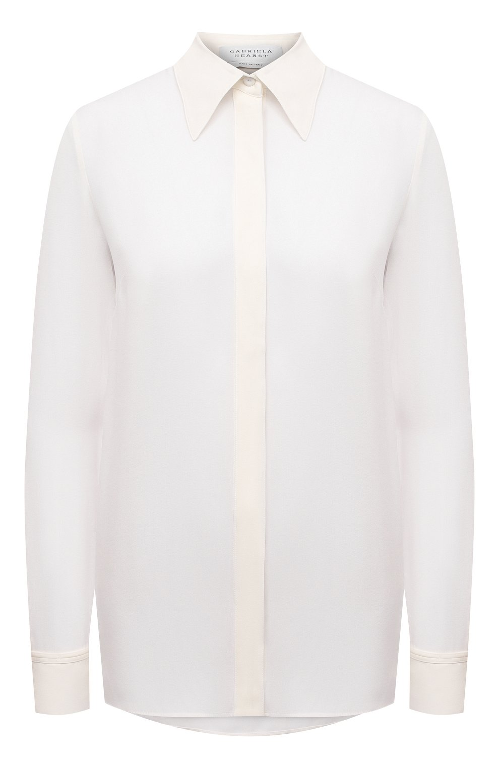 Женская шелковая рубашка GABRIELA HEARST белого цвета, арт. 420117 S032   Фото 1 (Материал внешний: Шелк; Рукава: Длинные; Принт: Без принта; Женское Кросс-КТ: Рубашка-одежда; Длина (для топов): Стандартные)