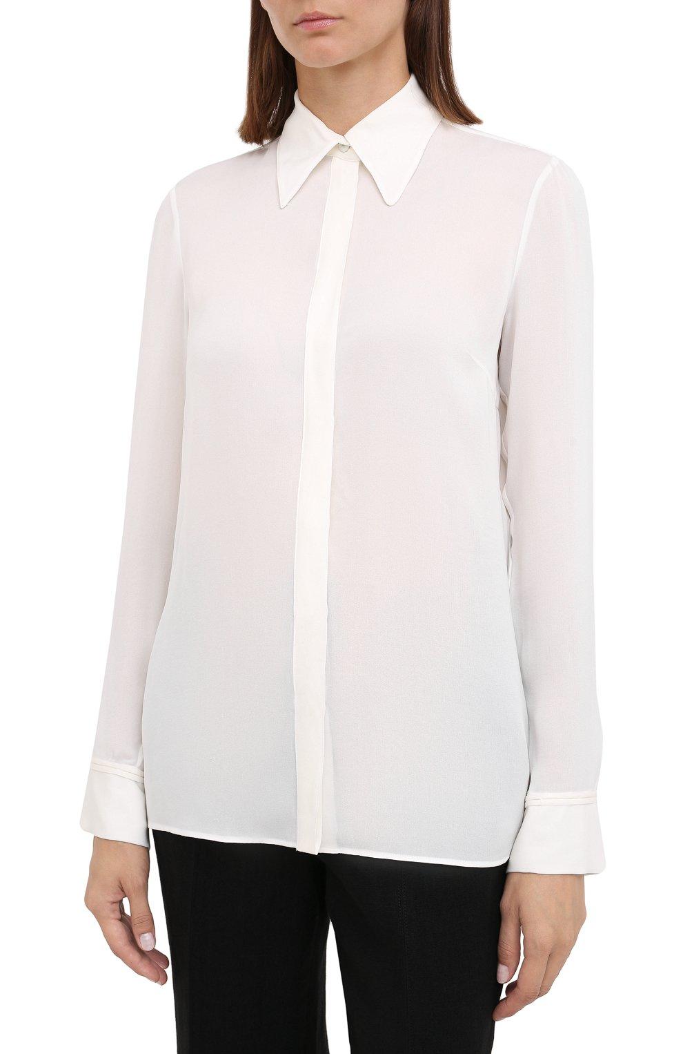 Женская шелковая рубашка GABRIELA HEARST белого цвета, арт. 420117 S032   Фото 3 (Материал внешний: Шелк; Рукава: Длинные; Принт: Без принта; Женское Кросс-КТ: Рубашка-одежда; Длина (для топов): Стандартные)