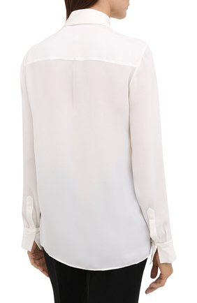 Женская шелковая рубашка GABRIELA HEARST белого цвета, арт. 420117 S032   Фото 4 (Материал внешний: Шелк; Рукава: Длинные; Принт: Без принта; Женское Кросс-КТ: Рубашка-одежда; Длина (для топов): Стандартные)