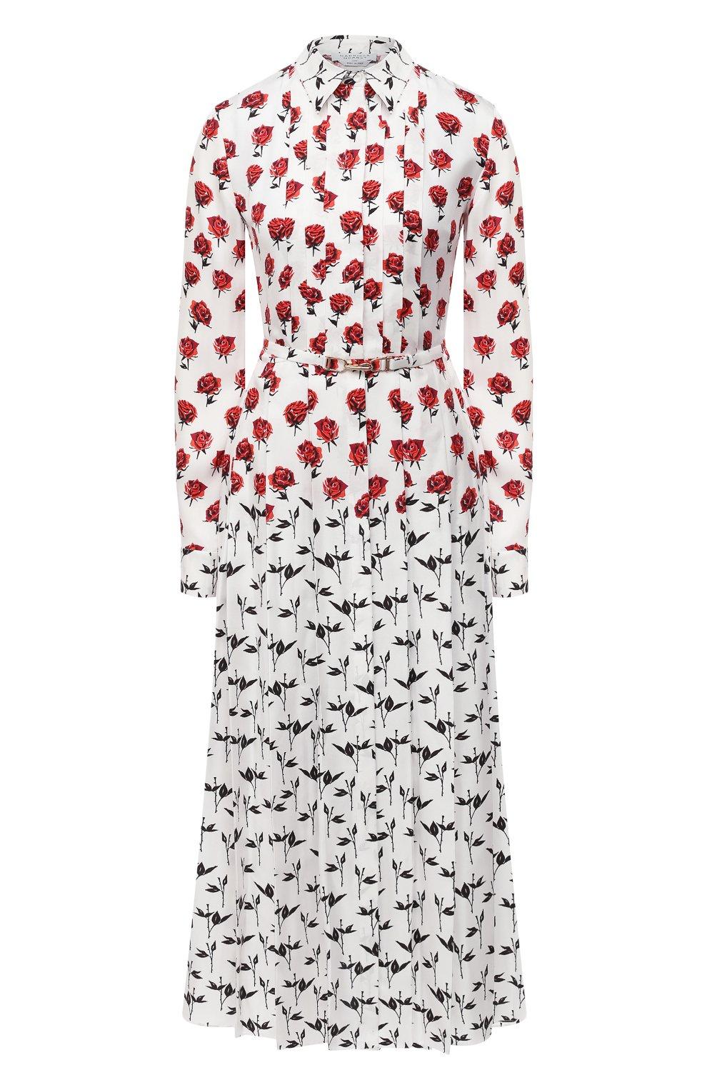Женское шелковое платье GABRIELA HEARST белого цвета, арт. 420432 P023   Фото 1 (Женское Кросс-КТ: платье-рубашка, Платье-одежда; Материал внешний: Шелк; Рукава: Длинные; Случай: Повседневный; Длина Ж (юбки, платья, шорты): Миди; Стили: Романтичный)