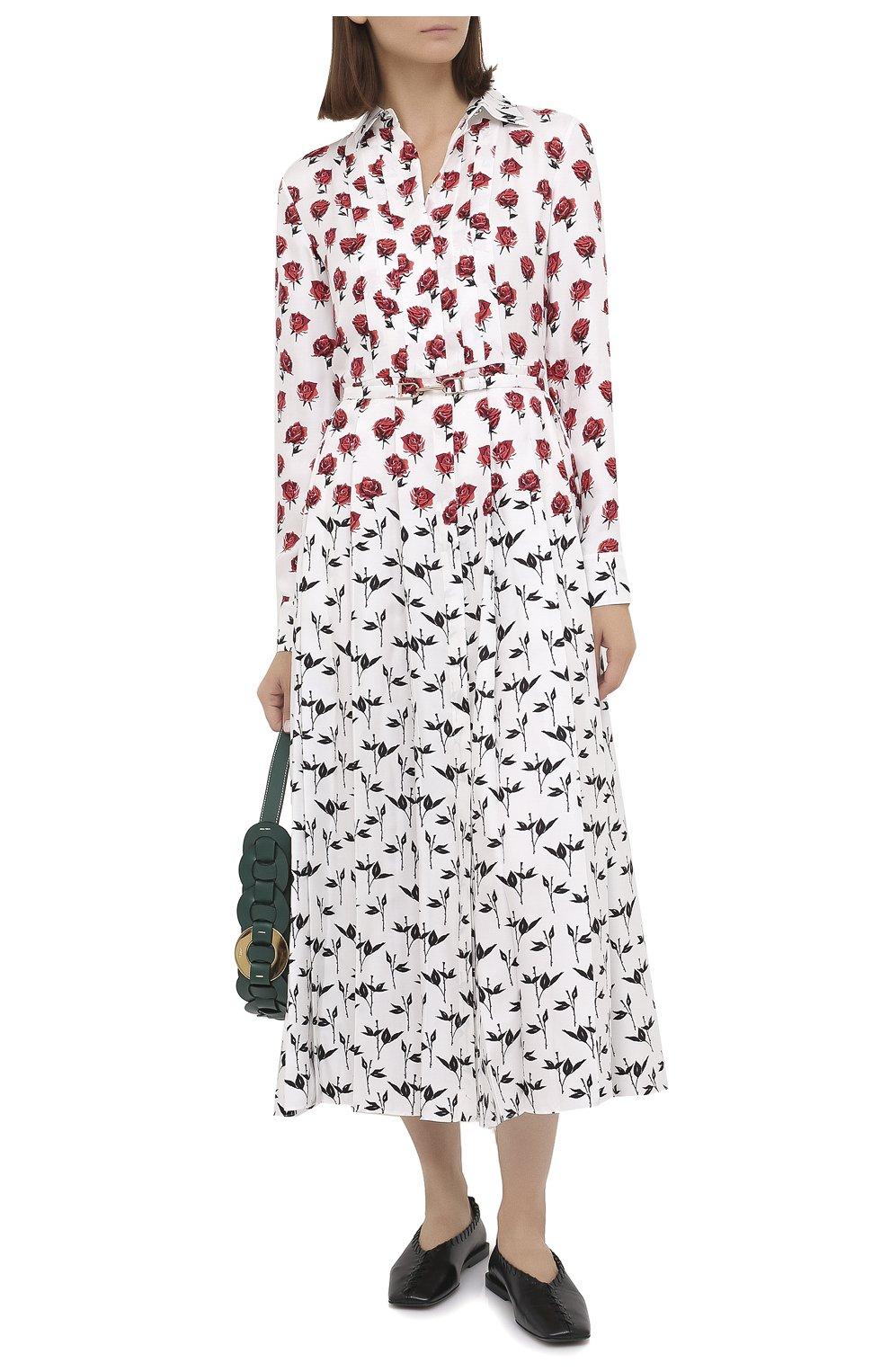 Женское шелковое платье GABRIELA HEARST белого цвета, арт. 420432 P023   Фото 2 (Женское Кросс-КТ: платье-рубашка, Платье-одежда; Материал внешний: Шелк; Рукава: Длинные; Случай: Повседневный; Длина Ж (юбки, платья, шорты): Миди; Стили: Романтичный)