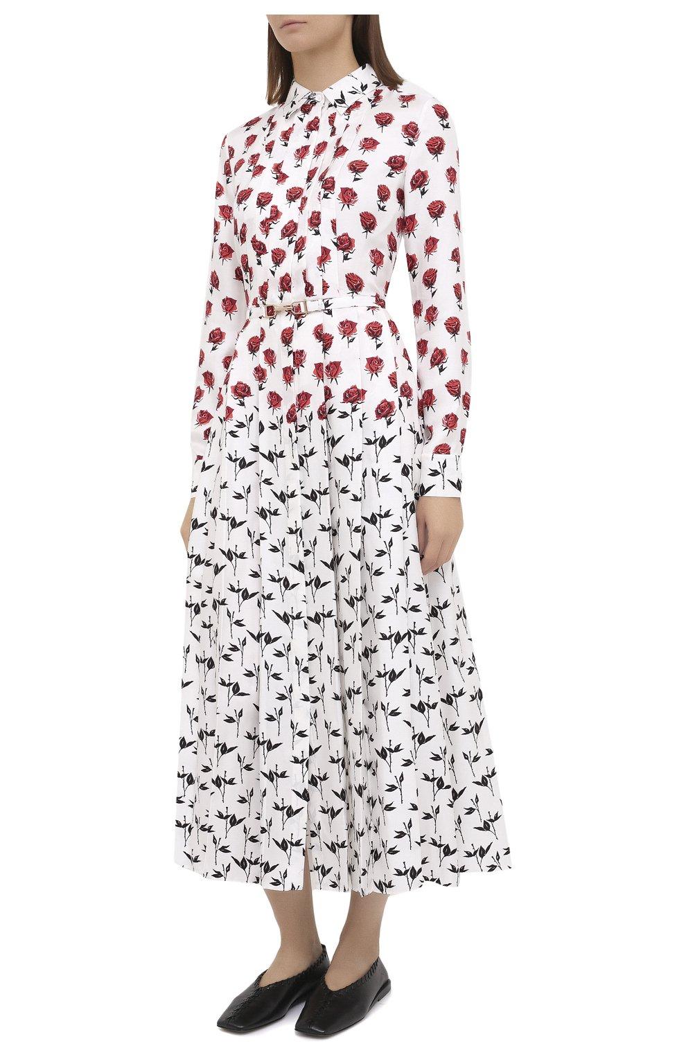 Женское шелковое платье GABRIELA HEARST белого цвета, арт. 420432 P023   Фото 3 (Женское Кросс-КТ: платье-рубашка, Платье-одежда; Материал внешний: Шелк; Рукава: Длинные; Случай: Повседневный; Длина Ж (юбки, платья, шорты): Миди; Стили: Романтичный)