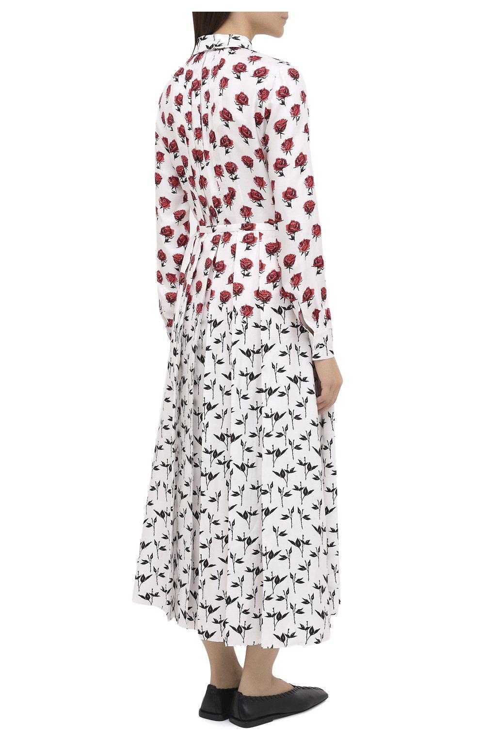 Женское шелковое платье GABRIELA HEARST белого цвета, арт. 420432 P023   Фото 4 (Женское Кросс-КТ: платье-рубашка, Платье-одежда; Материал внешний: Шелк; Рукава: Длинные; Случай: Повседневный; Длина Ж (юбки, платья, шорты): Миди; Стили: Романтичный)