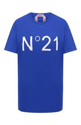 Женская хлопковая футболка N21 синего цвета, арт. 20I N2P0/F051/6314 | Фото 1
