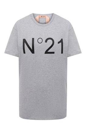 Женская хлопковая футболка N21 серого цвета, арт. 20I N2P0/F051/6314   Фото 1