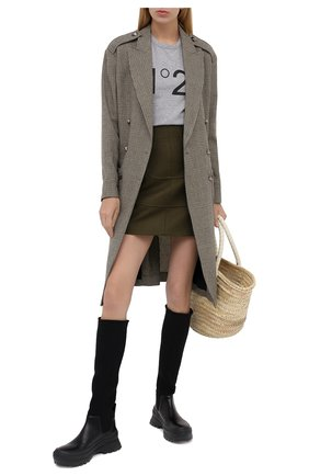 Женская хлопковая футболка N21 серого цвета, арт. 20I N2P0/F051/6314   Фото 2