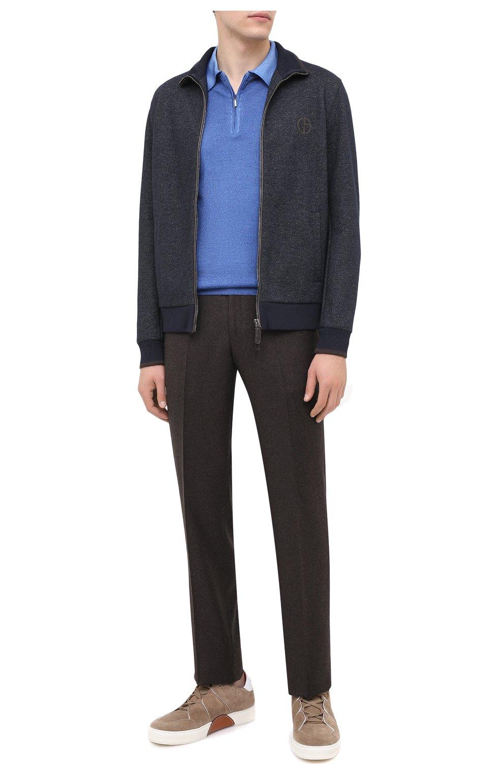 Мужское поло из кашемира и шелка ZILLI синего цвета, арт. MBU-PZ002-NUAG1/ML01   Фото 2