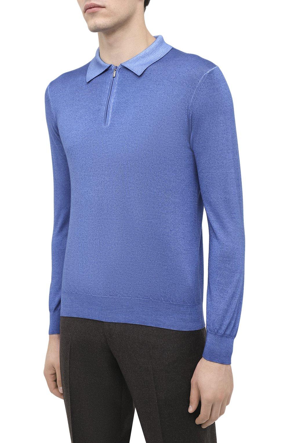Мужское поло из кашемира и шелка ZILLI синего цвета, арт. MBU-PZ002-NUAG1/ML01   Фото 4