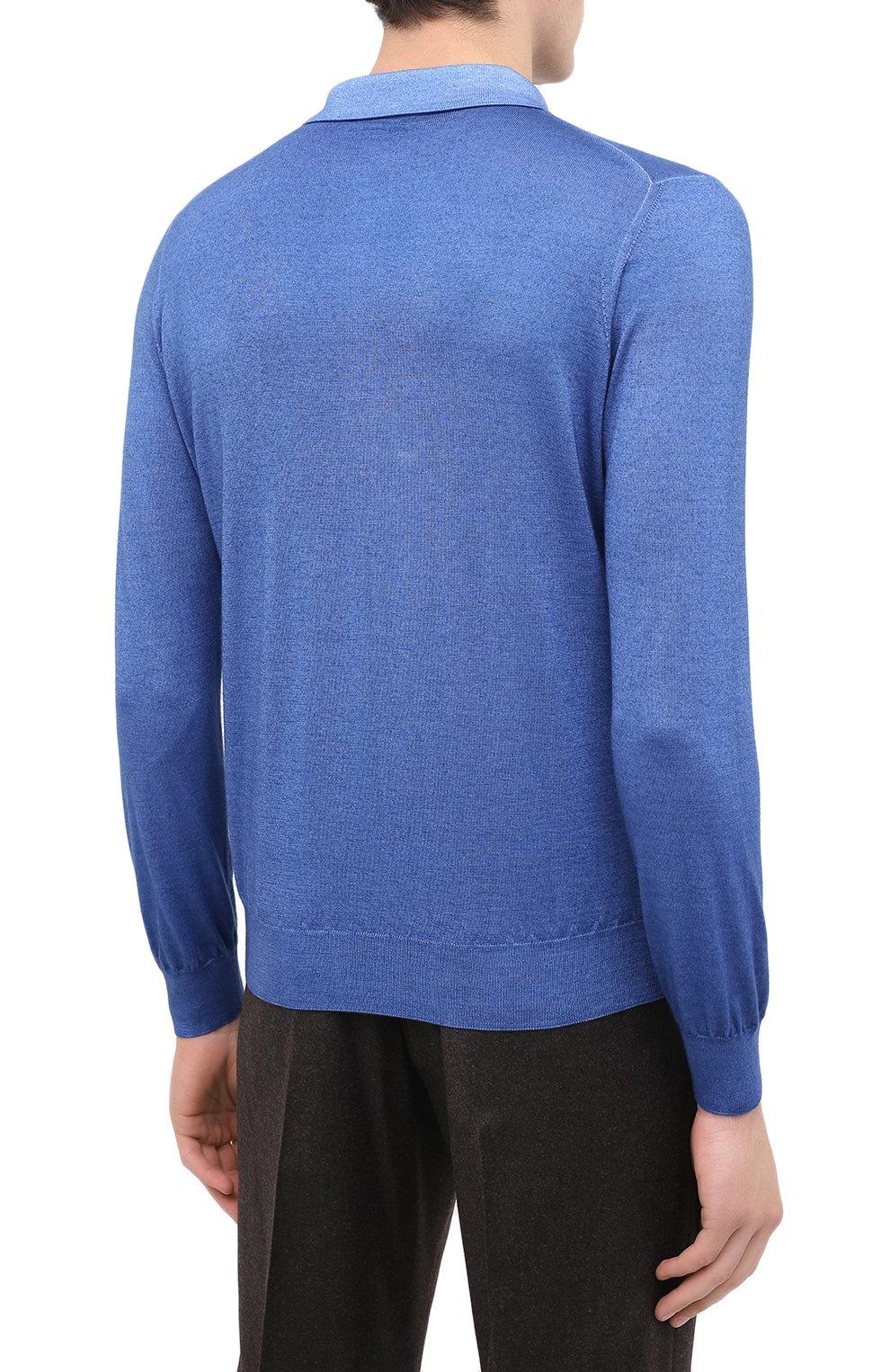 Мужское поло из кашемира и шелка ZILLI синего цвета, арт. MBU-PZ002-NUAG1/ML01   Фото 5