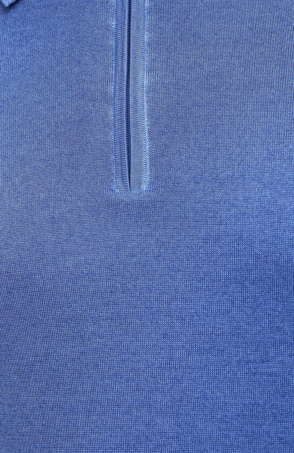 Мужское поло из кашемира и шелка ZILLI синего цвета, арт. MBU-PZ002-NUAG1/ML01   Фото 6