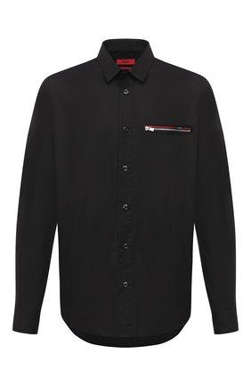 Мужская хлопковая рубашка HUGO черного цвета, арт. 50431931   Фото 1