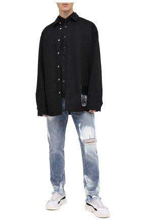 Мужская хлопковая рубашка HUGO черного цвета, арт. 50431931   Фото 2