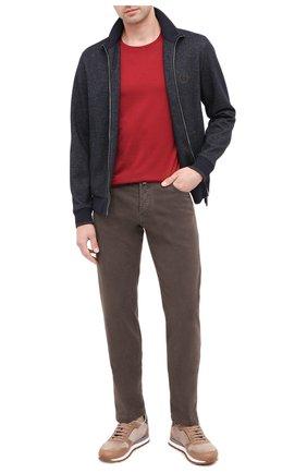 Мужские брюки из хлопка и кашемира KITON коричневого цвета, арт. UPNJSJ02T47 | Фото 2 (Материал внешний: Хлопок; Материал подклада: Купро; Длина (брюки, джинсы): Стандартные; Случай: Повседневный; Стили: Кэжуэл)
