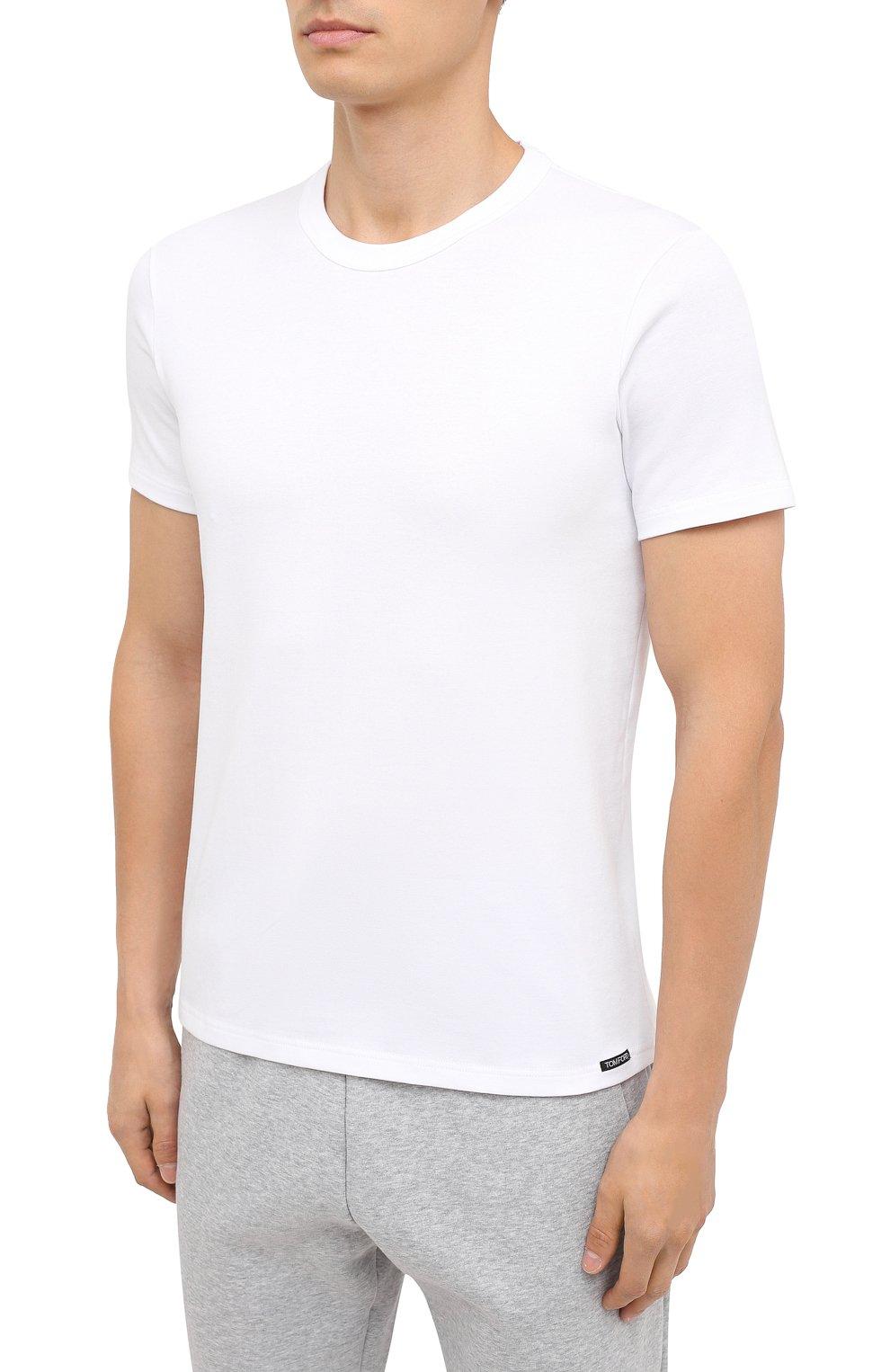 Мужская хлопковая футболка TOM FORD белого цвета, арт. T4M081040 | Фото 3