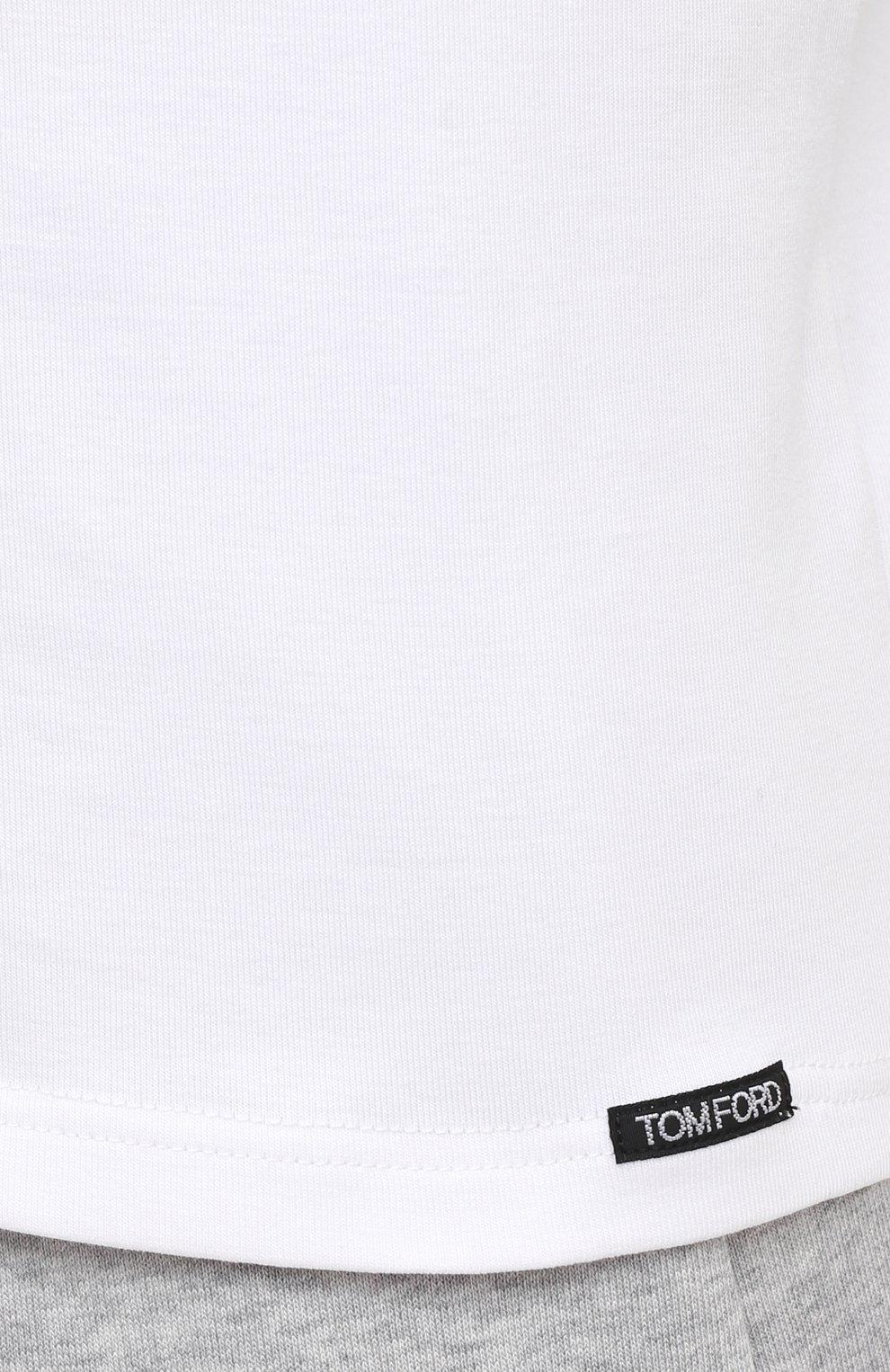 Мужская хлопковая футболка TOM FORD белого цвета, арт. T4M081040 | Фото 5