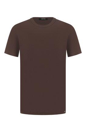 Мужские хлопковая футболка TOM FORD темно-коричневого цвета, арт. T4M081040 | Фото 1