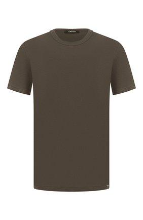Мужские хлопковая футболка TOM FORD хаки цвета, арт. T4M081040   Фото 1