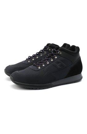 Мужские комбинированные кроссовки HOGAN темно-синего цвета, арт. HXM3210DC800EN | Фото 1