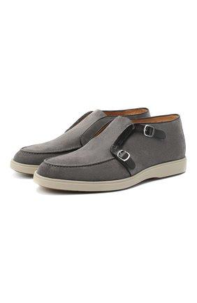 Мужские замшевые ботинки SANTONI темно-серого цвета, арт. MGDT17104GMIESAHG62 | Фото 1