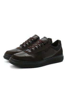 Мужские комбинированные кеды ALDO BRUE темно-коричневого цвета, арт. AB6153K-VSSNT.T.FC   Фото 1