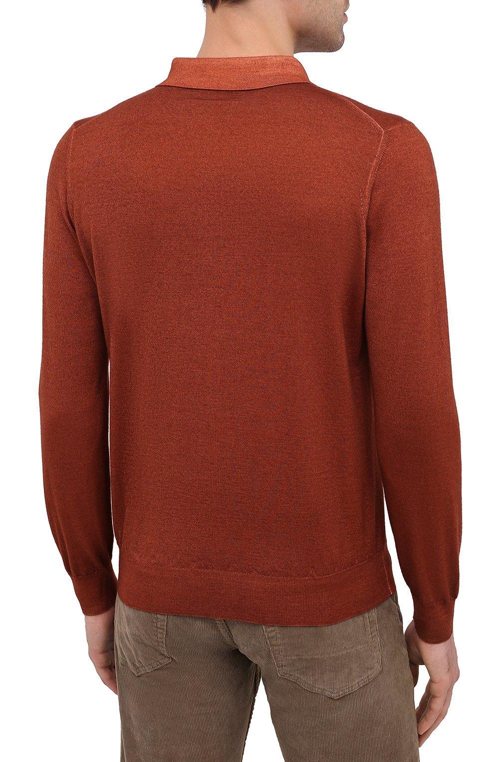 Мужское поло из кашемира и шелка ZILLI коричневого цвета, арт. MBU-PZ002-NUAG1/ML01 | Фото 4