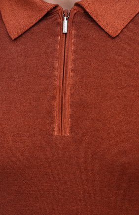 Мужское поло из кашемира и шелка ZILLI коричневого цвета, арт. MBU-PZ002-NUAG1/ML01 | Фото 5