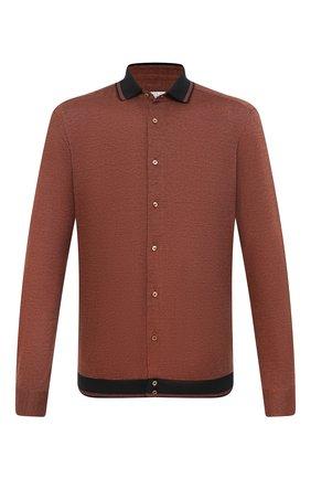 Мужская рубашка из хлопка и кашемира ZILLI коричневого цвета, арт. MFU-01801-64036/0001 | Фото 1