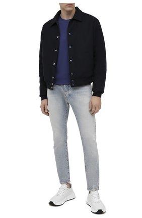 Мужская хлопковая футболка BERLUTI синего цвета, арт. R18JRS48-003 | Фото 2