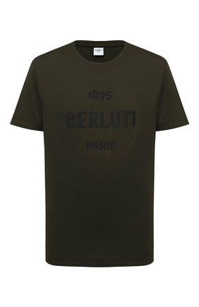 Мужская хлопковая футболка BERLUTI хаки цвета, арт. R18JRS50-001 | Фото 1