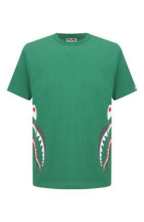 Мужская хлопковая футболка BAPE зеленого цвета, арт. 1G30110005 | Фото 1