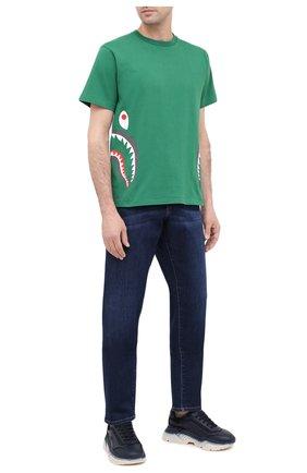 Мужская хлопковая футболка BAPE зеленого цвета, арт. 1G30110005 | Фото 2