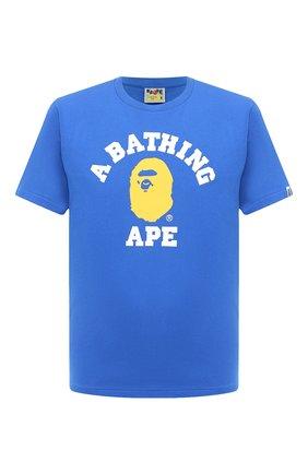 Мужская хлопковая футболка BAPE синего цвета, арт. 1G30110056 | Фото 1