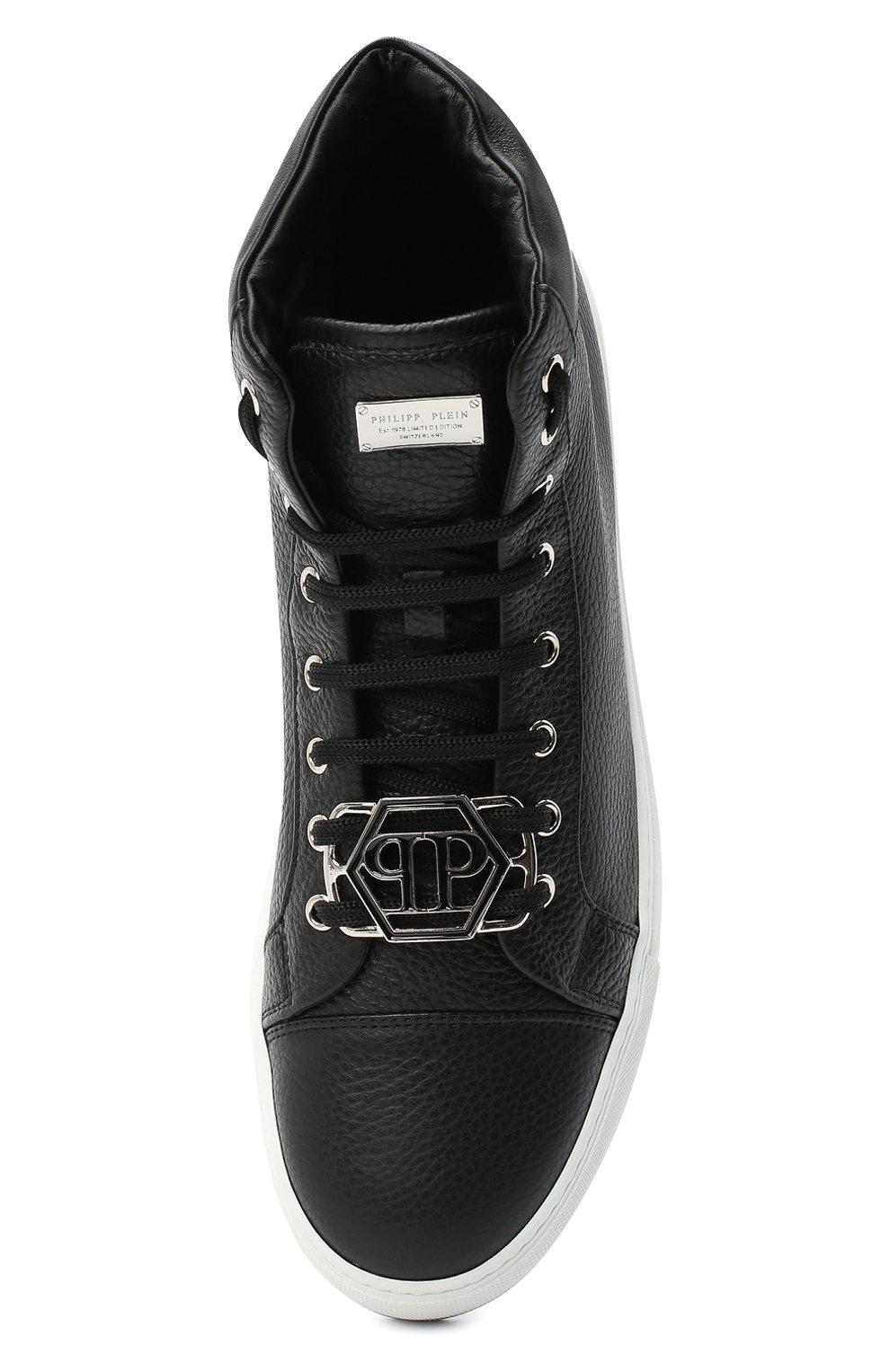 Мужские кожаные кеды PHILIPP PLEIN черного цвета, арт. F20S MSC2822 PLE006N | Фото 5