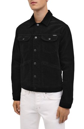 Мужская хлопковая куртка TOM FORD черного цвета, арт. BVJ19/TFD116 | Фото 4